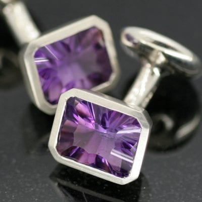 Handcrafted solid Silver Optix cut Amethyst cufflinks